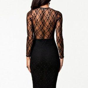 NWT BLACK BODY HUGGING BOTTOM LINED DRESS